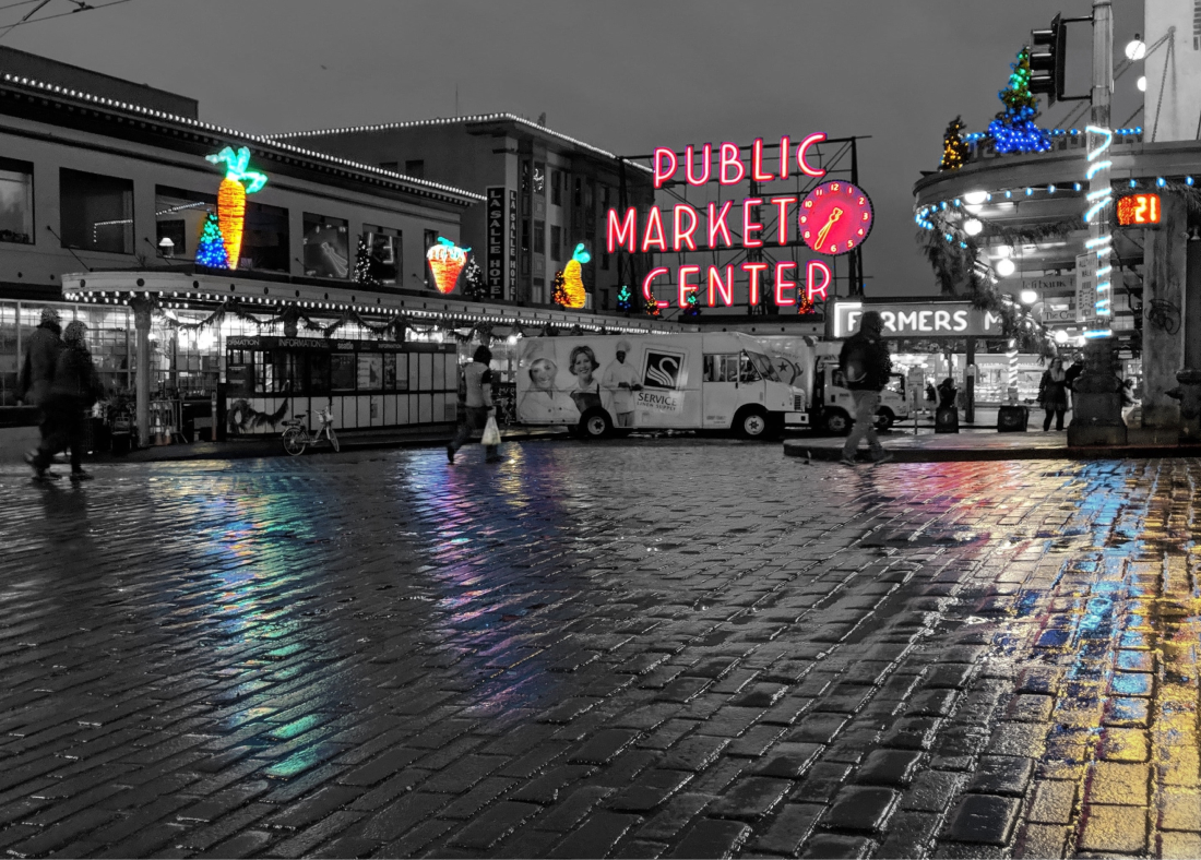 an edited picture of the popular Pike Place market in Seattle city