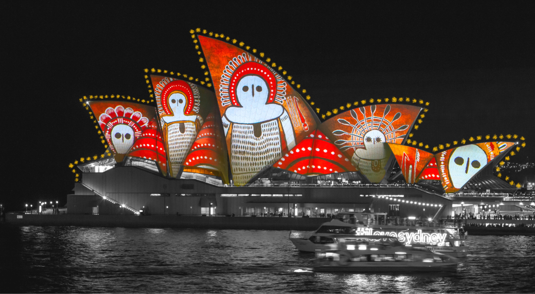 an edited picture of Sydney Opera House with aboriginal art light projection