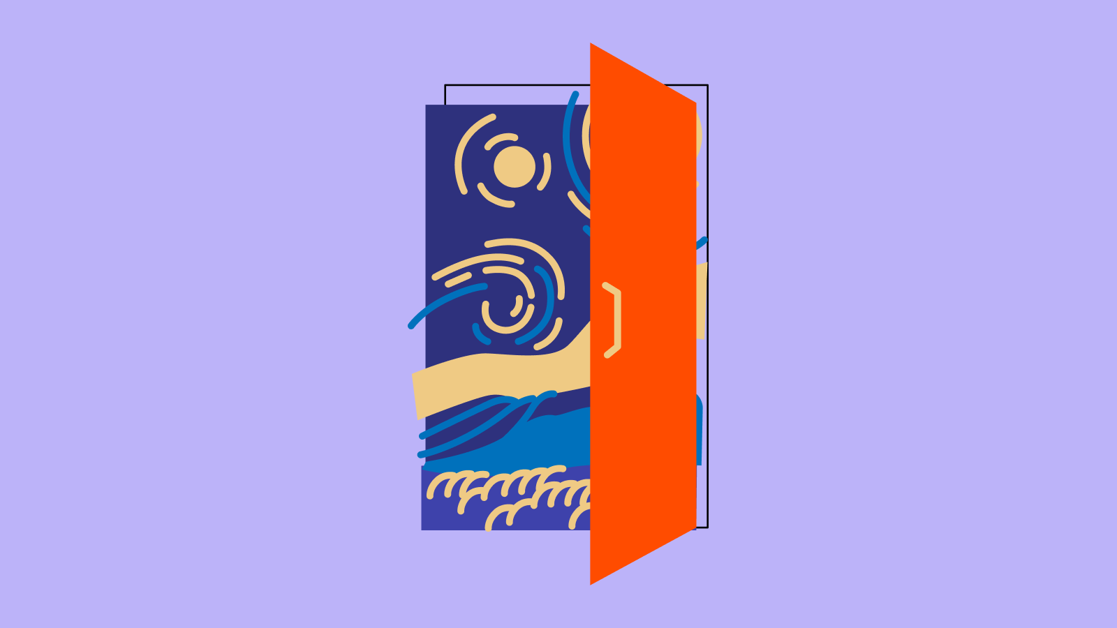 an open bright orange door with an illustration of Vincent van Gogh's The Starry Night painting behind it